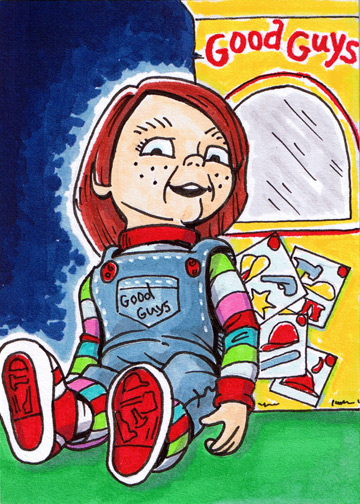 how to draw chucky chibi