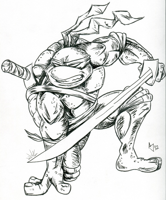 Line Art Ninja Turtles : Tmnt leonardo sketch by atlantajones on deviantart