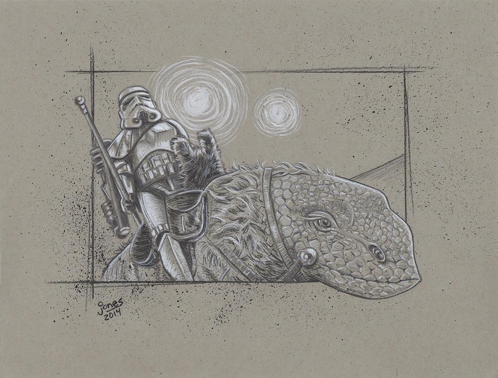 Sandtrooper on Dewback, Star Wars art by AtlantaJones
