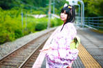 Yukata girl and railway by MinoruneTomo