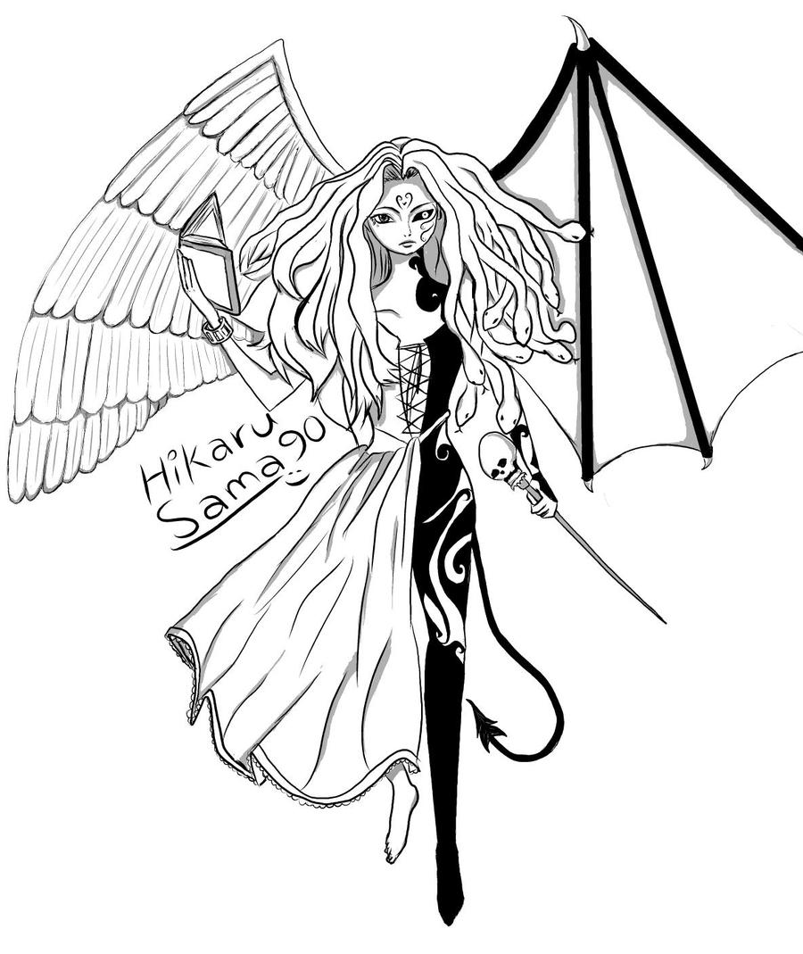 Half Angel and Half Demon (digital) by HiKaRu-SaMa90 on