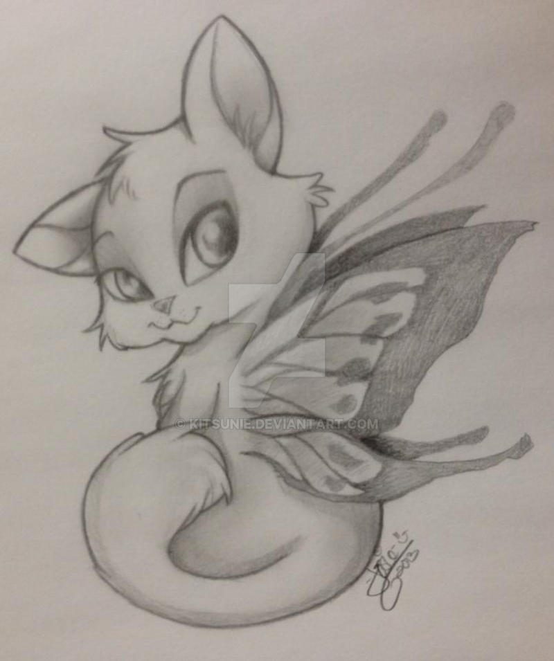 Fairy kitty sketch graphite by kitsunie