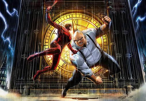 Daredevil VS Kingpin Pin Up Colors