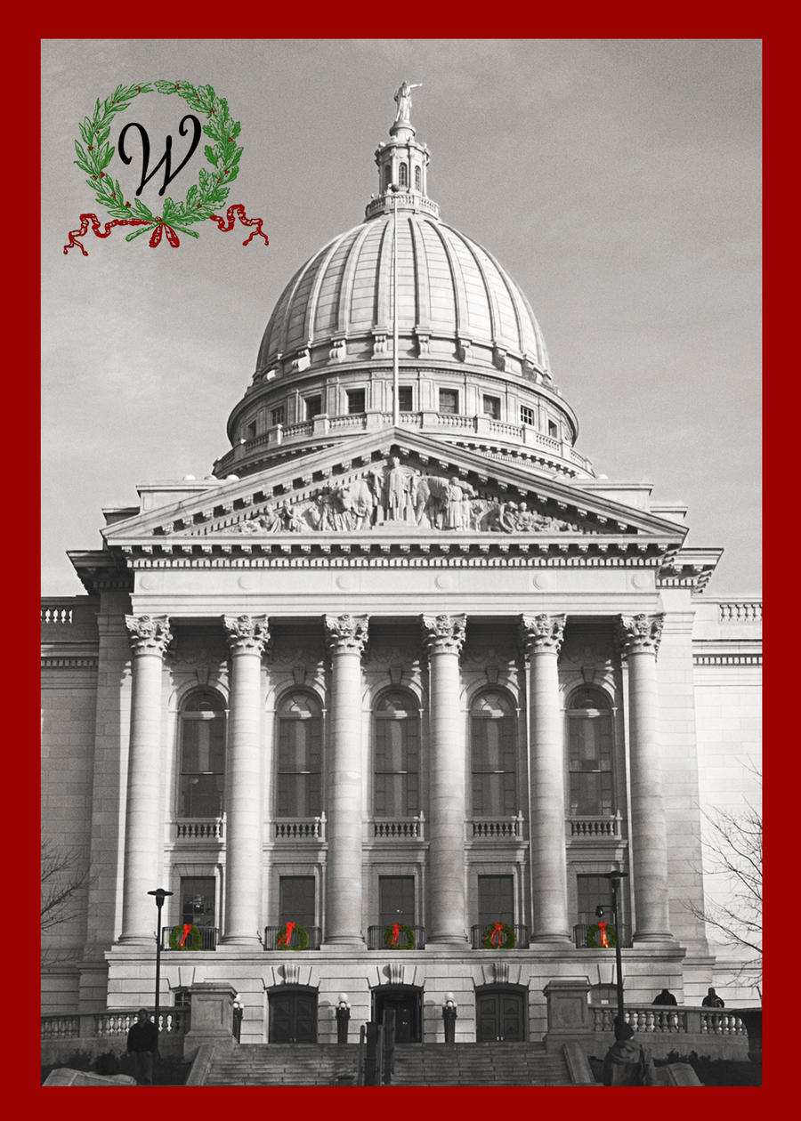 Wisconsin Capitol Christmas Card with Monogram