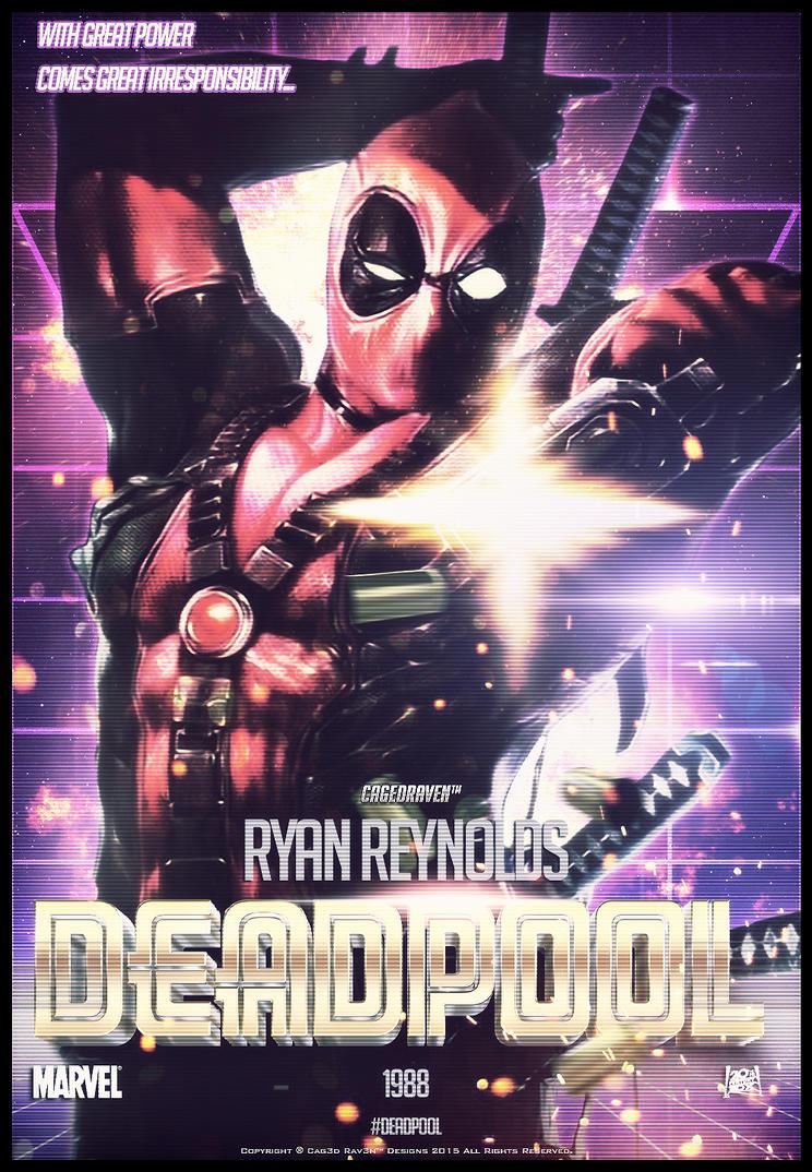 80s style deadpool movie poster by cag3drav3n on deviantart