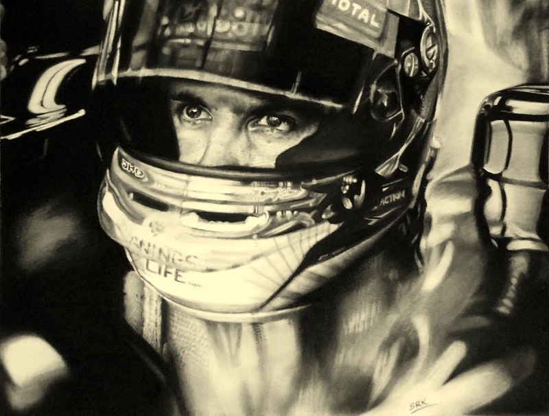 Sebastian Vettel in his racing gear by realisticartsachin