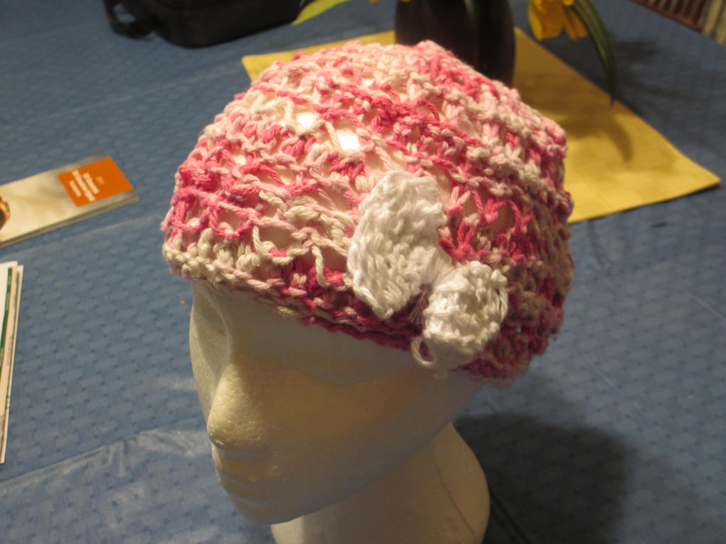 Cotton Candy Beanie with White Bow by A-Pretty-Bloodshed