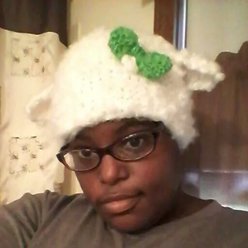 Super Fluffy Lamb Ear Beanie With Green Bow by A-Pretty-Bloodshed