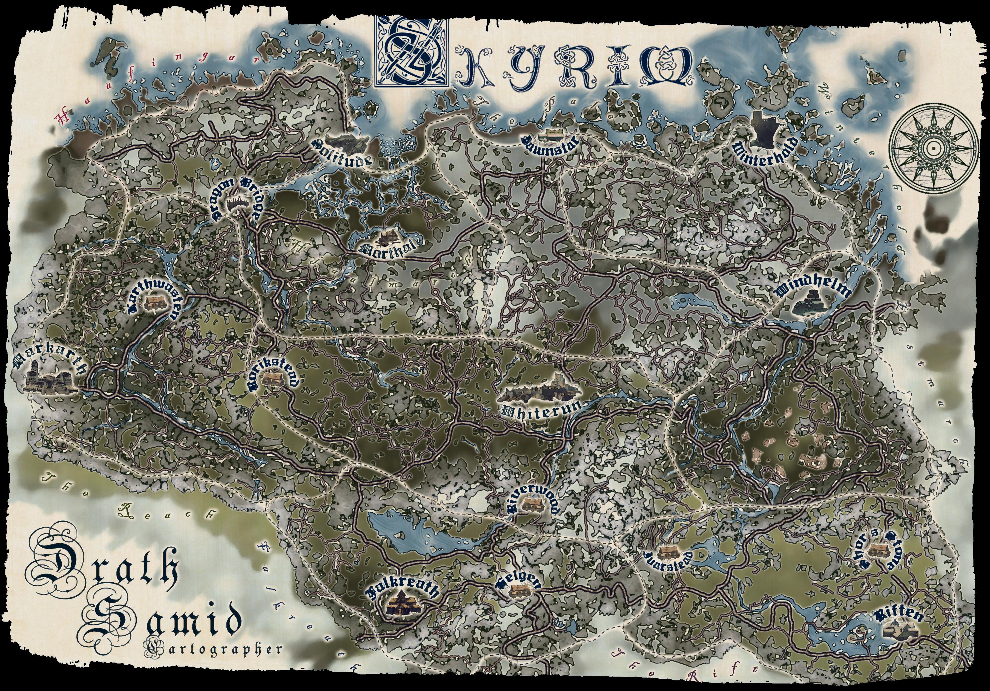 Striking image in printable skyrim map
