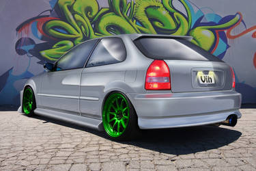 Civic green wheels.