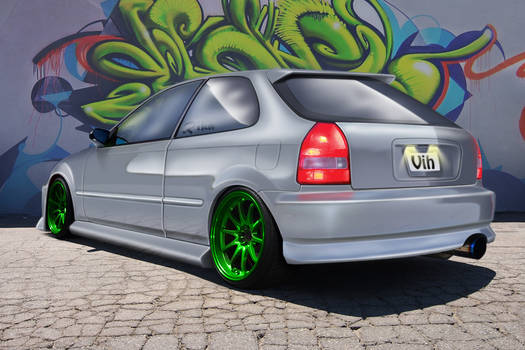 Civic green wheels.