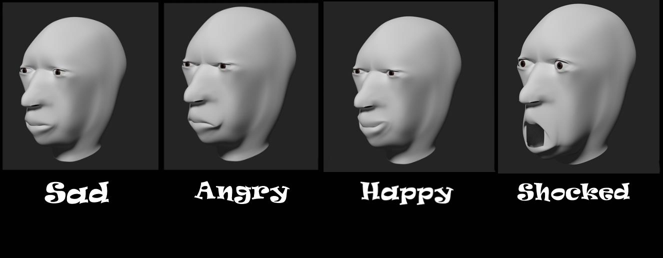 CG Face Model Expressions (First Time) (No Ears) by The-Ray3000