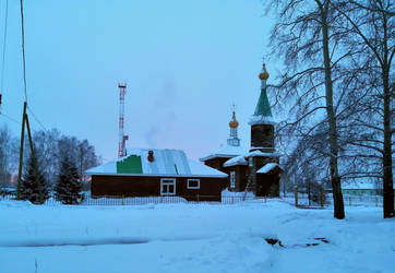 Church winter morning