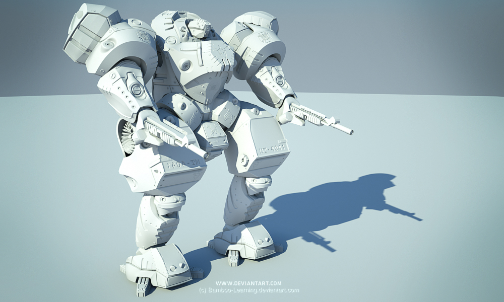 Mecha Frontier: clay render by sergiosoares