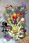 Spiderman versus lil Sinister Six by Rene Cordova