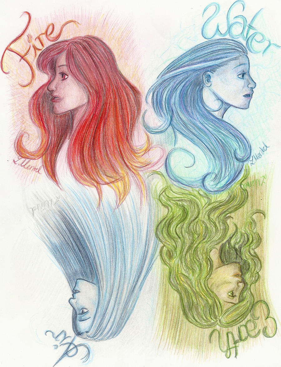 Elements Of Art Drawing : The four elements by mitternachtselbin on deviantart