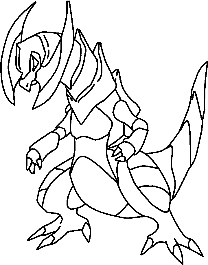Coloring Lineart : Pokemon haxorus lineart by dark miracles on deviantart