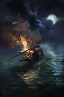 ship on fire by mattdonnici