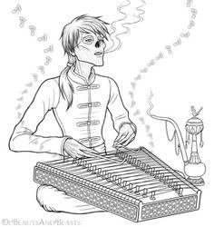 Erik playing the Santur