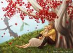 Jorah and Daenerys by the Weirwood Tree