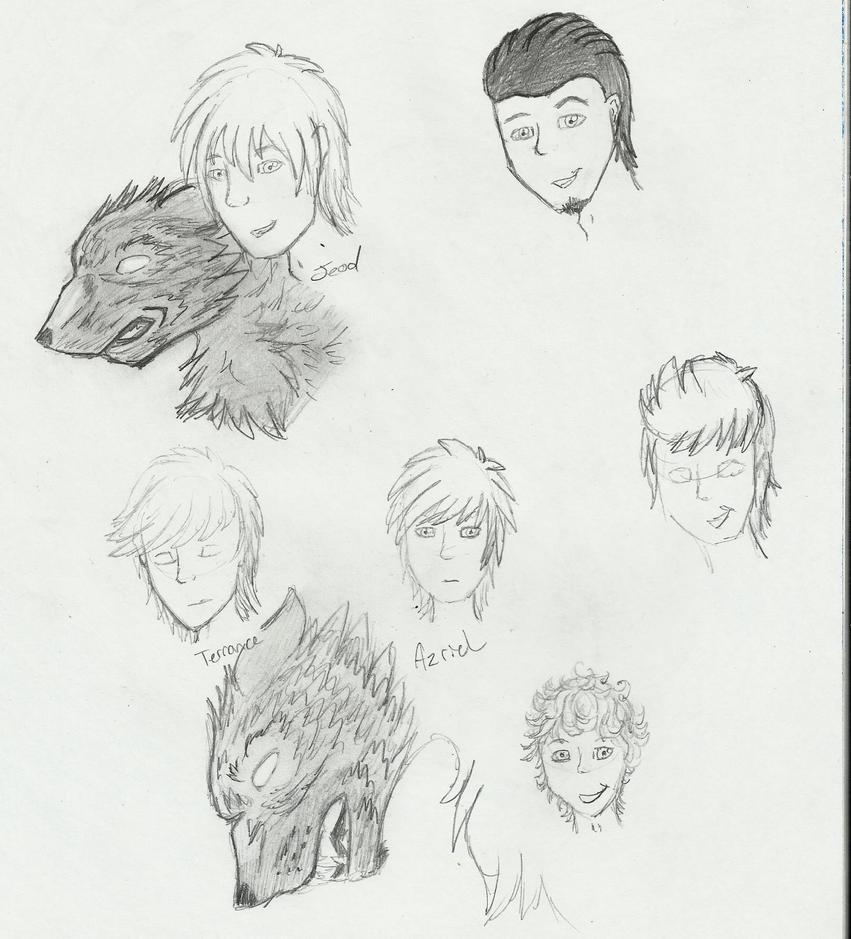 Random doodles of people by Jeodthewolf