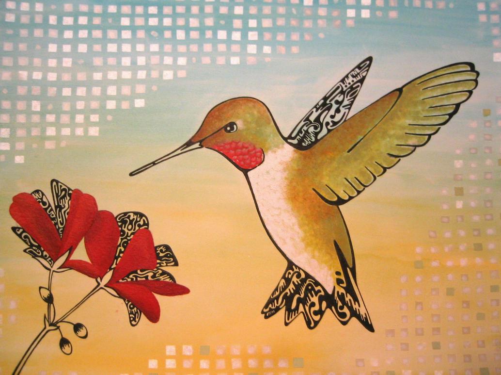 Abstract Hummingbird by hollrock