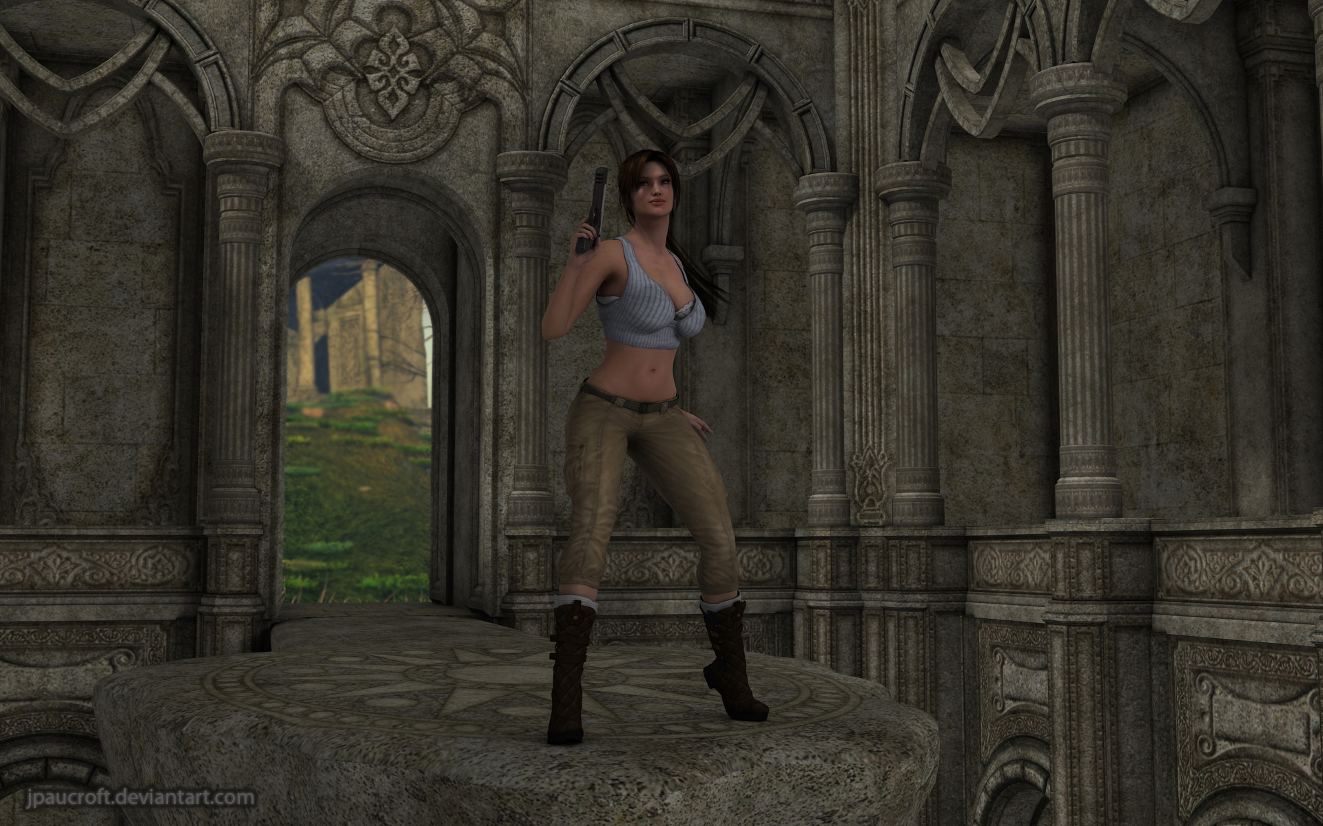Lara and the ruins by JpauCroft