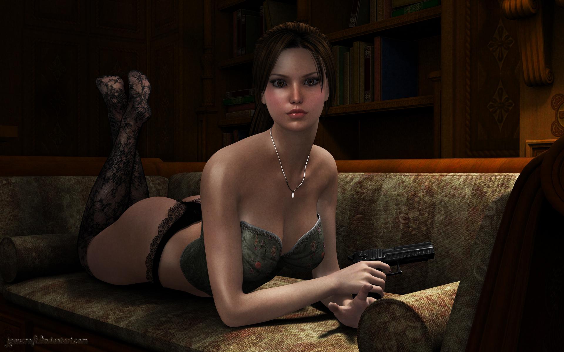 3d lara croft lingerie erotica toons