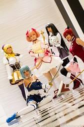 Madoka Magica- Five Magical Girls by Cepiapon