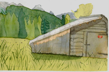 Watercolor sketch : Wood house