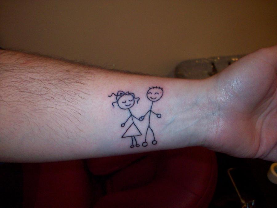 Stick Boy And Girl Tattoo
