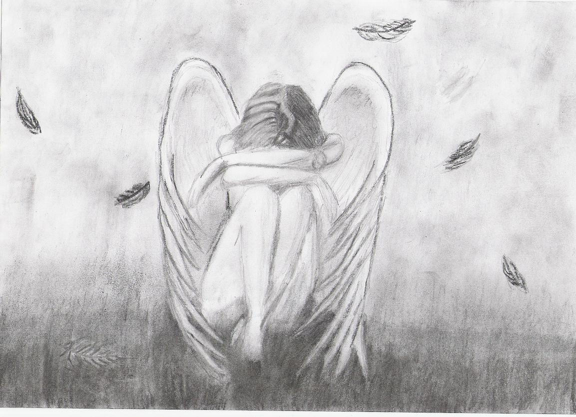 Pencil Sketches of Sad Angels Sad Angels Pencil Sketches
