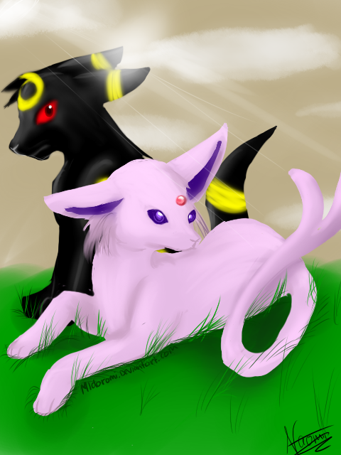 My Umbreon and Espeon by Midoromi on DeviantArt