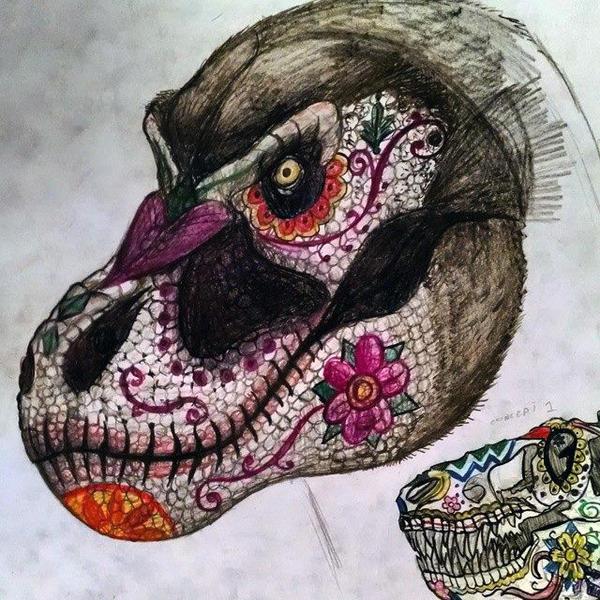 Dia de los Muertos Tyrannosaurus rex and skull by Thobewill
