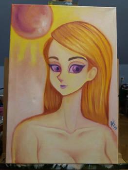 Random ball girl Oil Painting