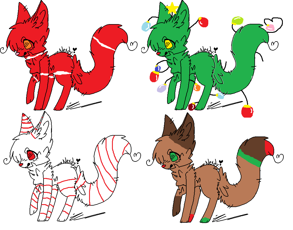 Christmas Adoptables! (NOT UP FOR ADOPTION YET) by warriorcatfan222 ...
