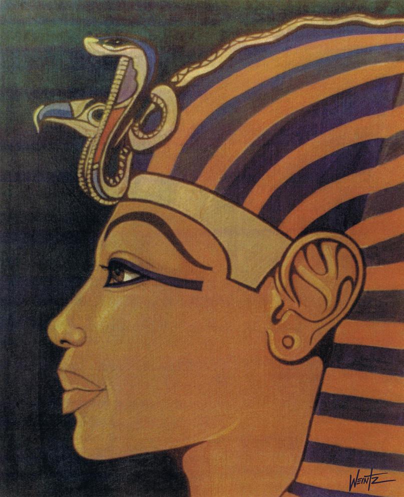 Tutankhamun in profile by snowsowhite on deviantart for Egyptian fresco mural painting