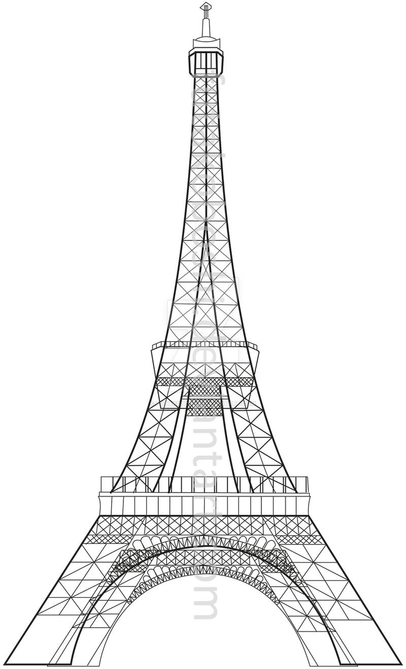 Line Drawing Eiffel Tower : Eiffel tower with illustrator by futakoboshi on deviantart