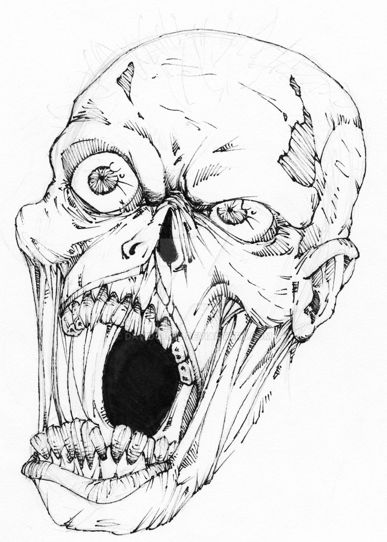 Zombie Face Line Drawing : Zombie head by davidj on deviantart