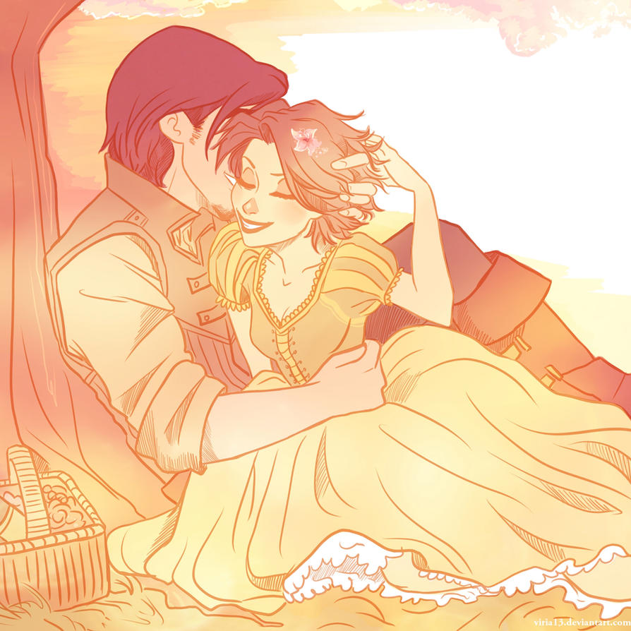 Tangled-Rapunzel and Eugene by viria13 on DeviantArt for tangled rapunzel and flynn drawing  67qdu