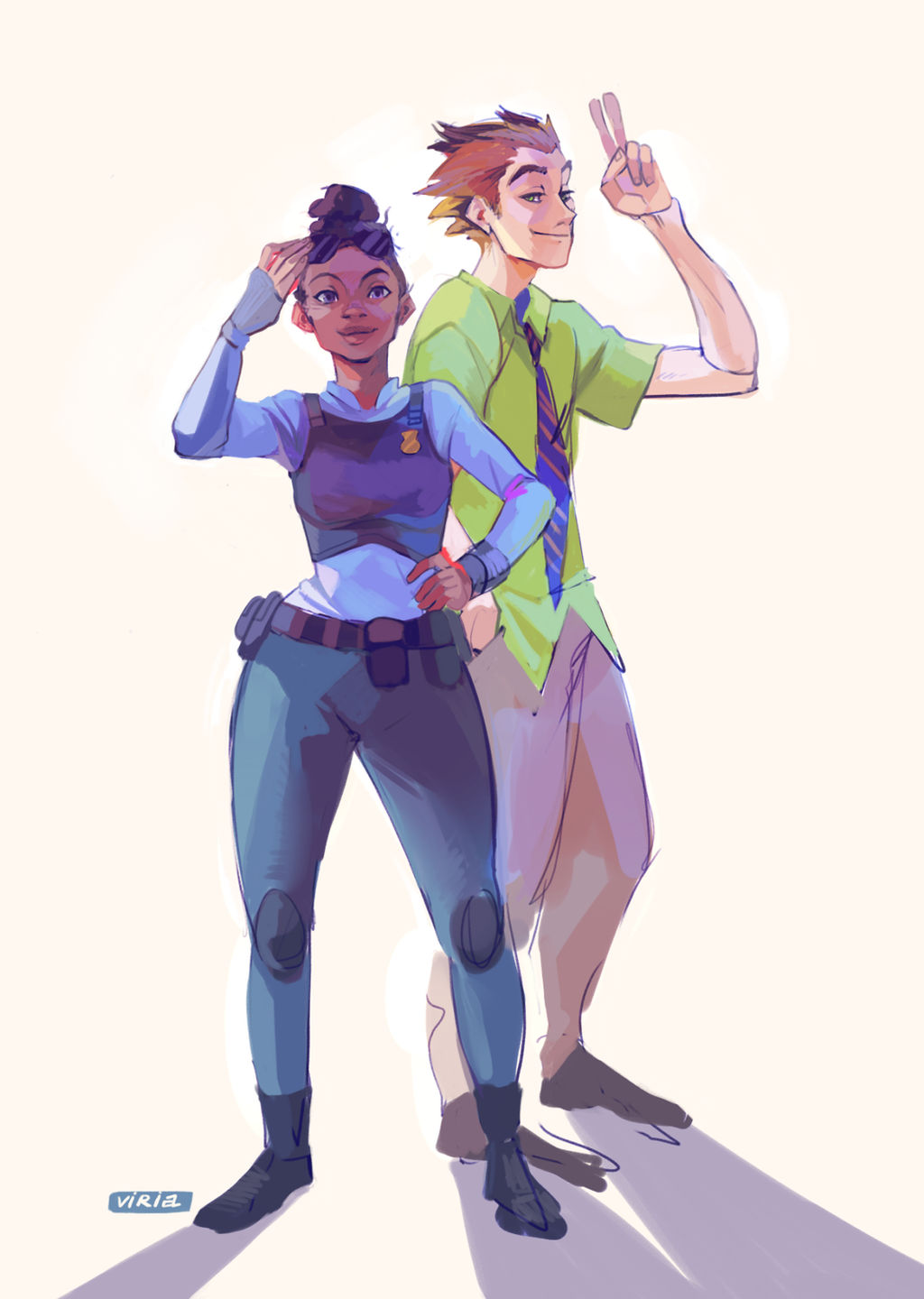 Humanized Judy and Nick by viria13