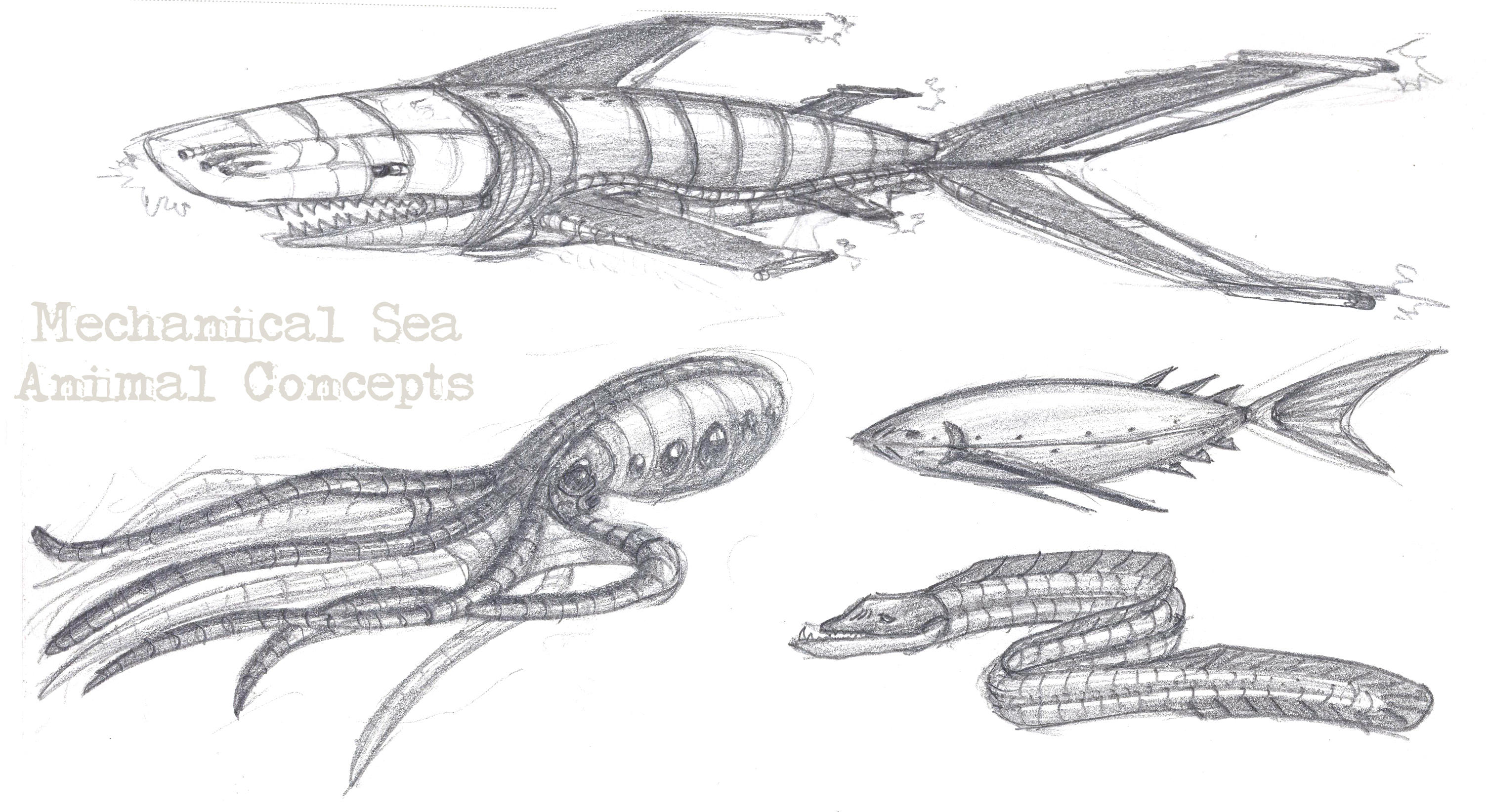 Mechanical Sea Animal Concepts by Verdego