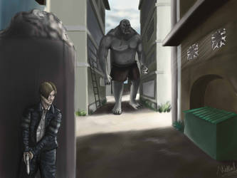 Resident Evil - Leon and El Gigante by NikhilRathod