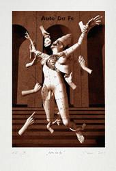 silkscreen print of auto da fe by trickstero