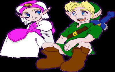 Link and Zelda transparent