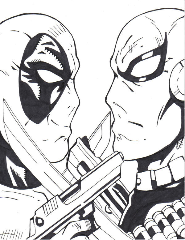 Deadpool vs deathstroke by kristiano21 on deviantart for Deathstroke coloring pages