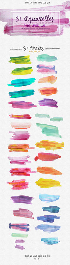 31 Watercolor Textures - Strokes