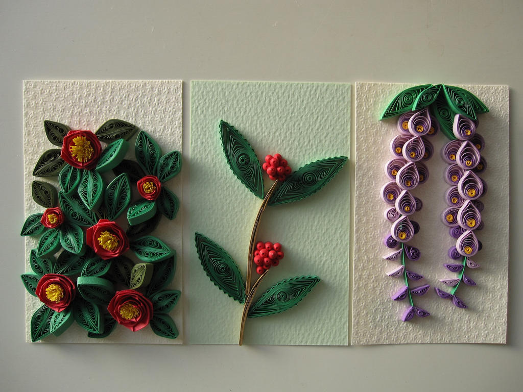 Paper quilling camellia sarcandra glabra wisteria by yoko - Paper quilling art wallpapers ...