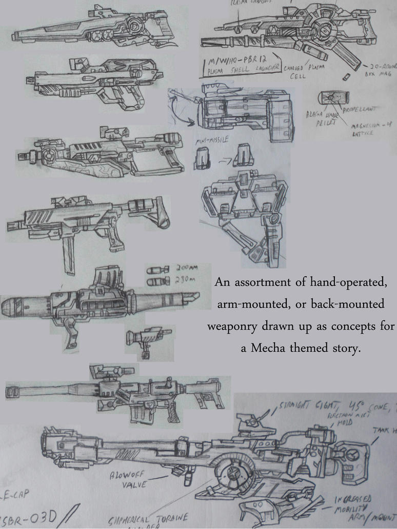 Mech Weapon Concepts by Setzuo