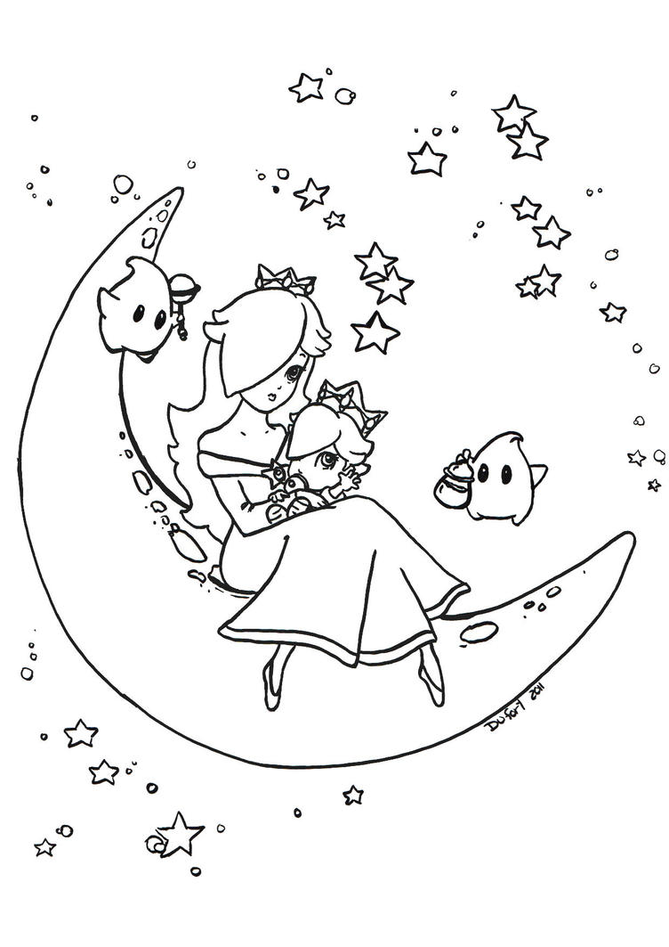 Rosalina and baby rosalina by jadedragonne on deviantart for Baby yoshi coloring pages